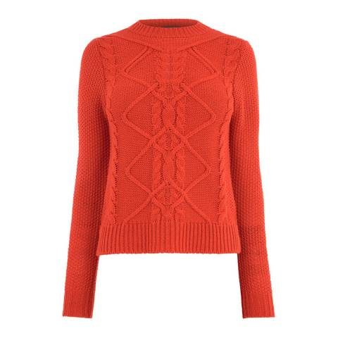 Oasis Bright Orange Nyla Cable Knit Jumper