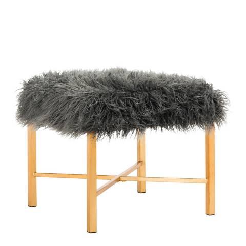 Safavieh Justyna Faux Lamb X Bench, Grey/Gold
