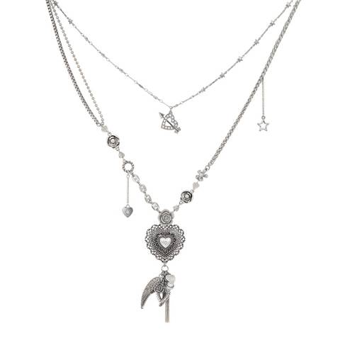 BiBi Bijoux Silver Heart Pendant Crystal Necklace