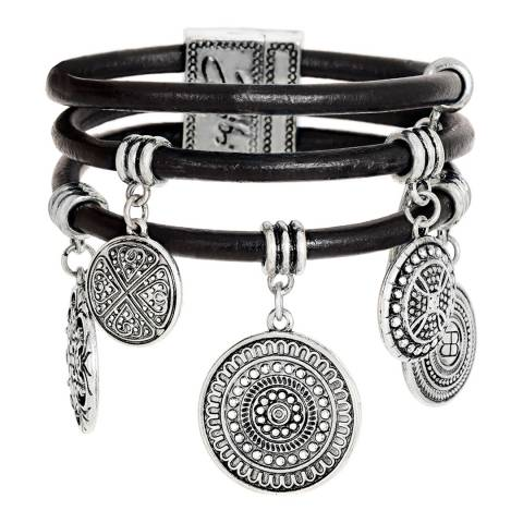BiBi Bijoux Silver Leather and Crystal Bracelet