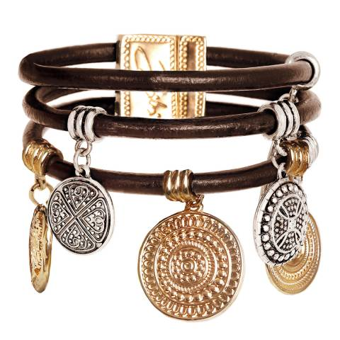 BiBi Bijoux Mixed Tones Silver/Gold Leather and Crystal Bracelet