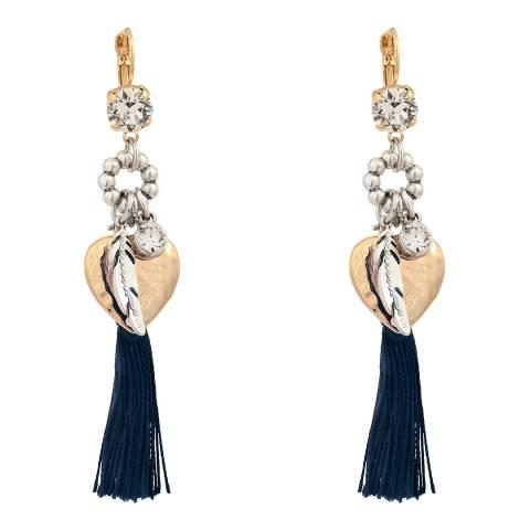 BiBi Bijoux Navy/Gold Plated Swaroski Crystals Earrings
