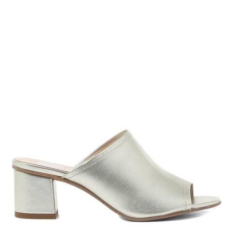 Hudson London Gold Metallic Leather Tabitha Heeled Mules