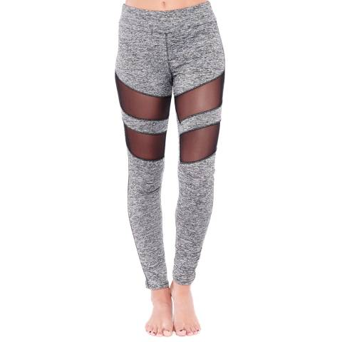 Electric Yoga Heather Grey Tummy Tuck Mesh Racer Leggings