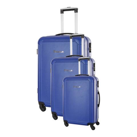 Platinium Set of Three Blue Walsall Suitcases S/M/L