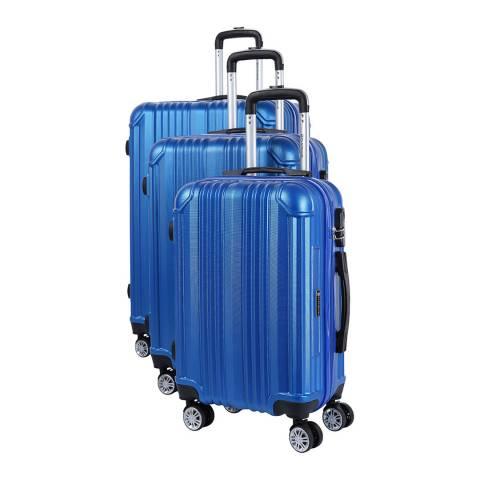 Platinium Set of 3 Blue Rockland Suitcases