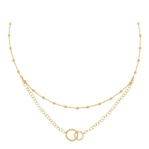 Chloe Collection by Liv Oliver 18k gold plated sterling silver multistrand necklace