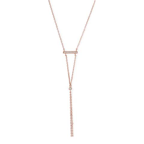 Chloe Collection by Liv Oliver 18k Rose Gold Y embelishhed Necklace