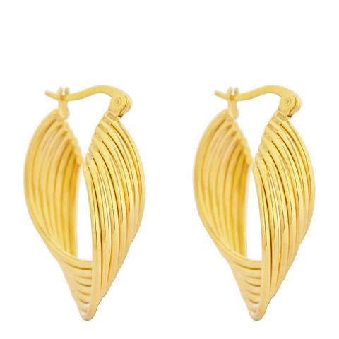 Chloe Collection by Liv Oliver 18k Gold Textured Hoop Earrings