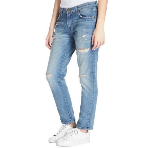 Current Elliott Light Blue Fling Destroyed Slim Boyfriend Cotton Jeans