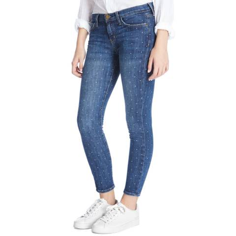 Current Elliott Mid Blue Stiletto White Stars Skinny Stretch Jeans
