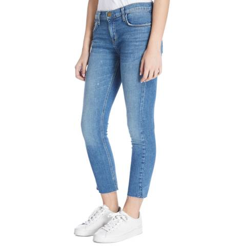 Current Elliott Blue Wash Sawyer Cropped Straight Jeans