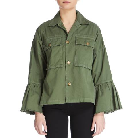 Current Elliott Army Green Ruffle Cotton Military Jacket
