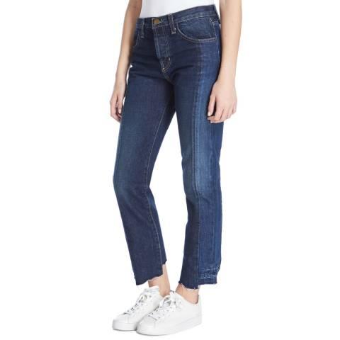 Current Elliott Mid Blue Selvedge Straight Cotton Jeans