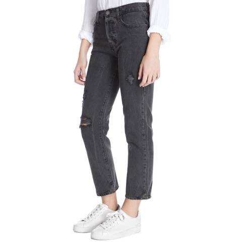 Current Elliott Black Wash Valo Destroy Straight Stretch Jeans