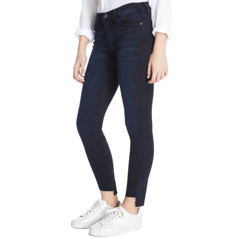 Current Elliott Deep Indigo Uneven Hem Stiletto Stretch Jeans
