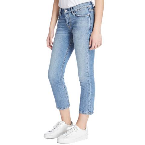 Current Elliott Light Blue Branwen Cropped Straight Cotton Jeans