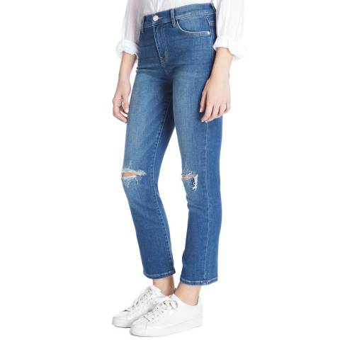 Current Elliott Mid Blue Joey High Waist Straight Jeans