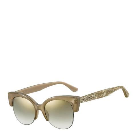 Jimmy Choo Women's Nude Crystal Glitter/Brown Gradient with Flash Mirror Priya Sunglasses 56mm
