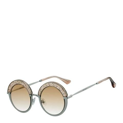 Jimmy Choo Women's Silver Nude Pink Glitter/Brown Gradient Gotha Sunglasses 50mm