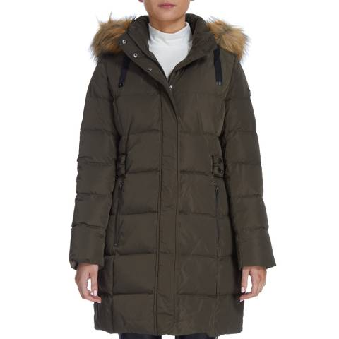 DKNY Khaki Down Side Tab Quilted Coat