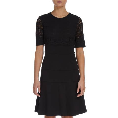 DKNY Black Fit And Flare Laser Cut Dress
