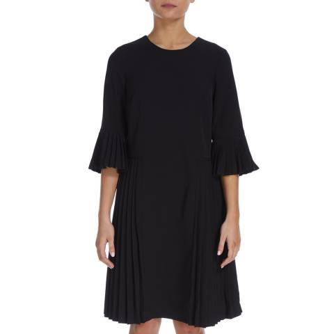 DKNY Black Pleated Shift Dress