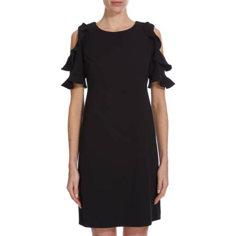 DKNY Black Ruffle Cold Shoulder Dress