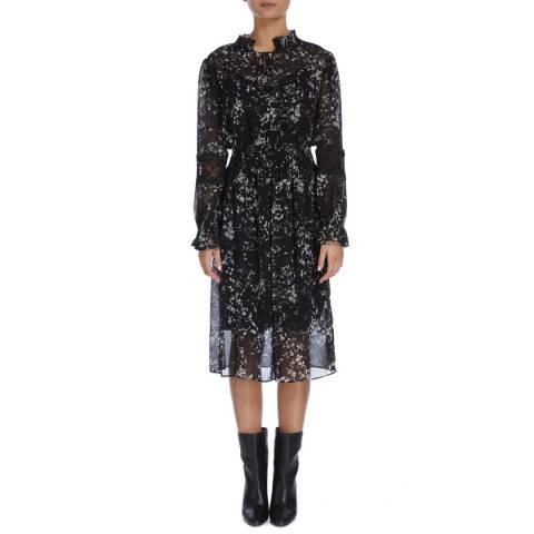DKNY Black High Neck Sheer Dress