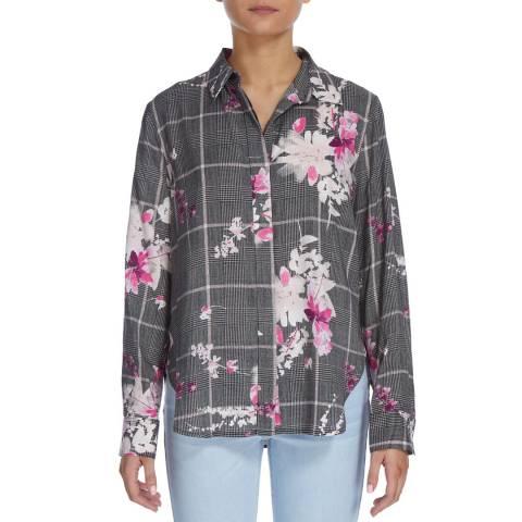 DKNY Grey Button Through Floral Check Shirt