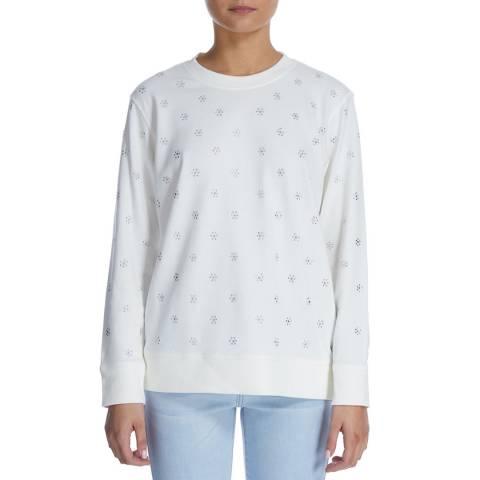 DKNY Ivory Embellished Pattern Sweatshirt