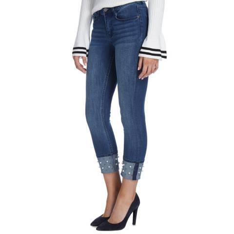 DKNY Indigo Everywhere Embellished Skinny Jeans
