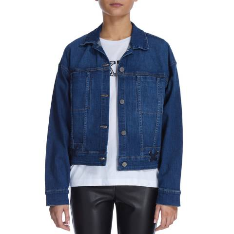 DKNY Indigo Laced Box Denim Jacket