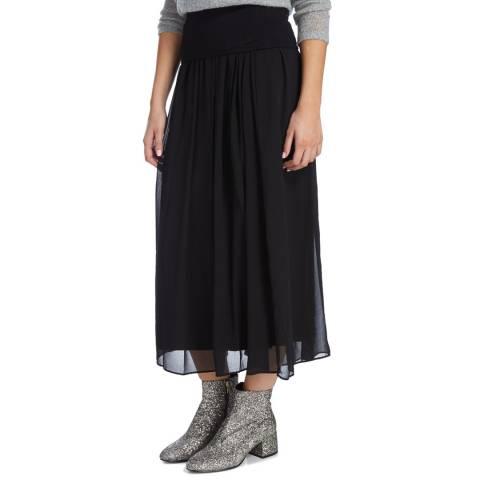 DKNY Black Pull On Pleated Maxi Skirt