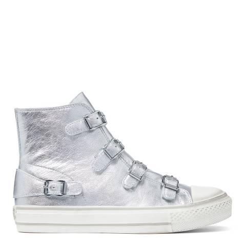 ASH Silver Metallic Virgin Hi Top Sneaker
