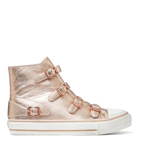 ASH Rose Gold Metallic Virgin Hi Top Sneaker