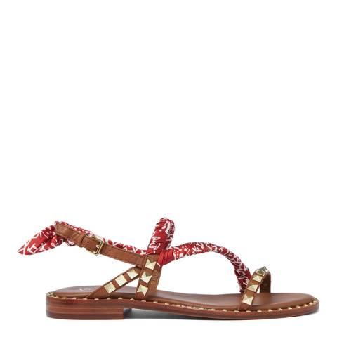 ASH Tan Red Foulard Bandana Flat Sandal