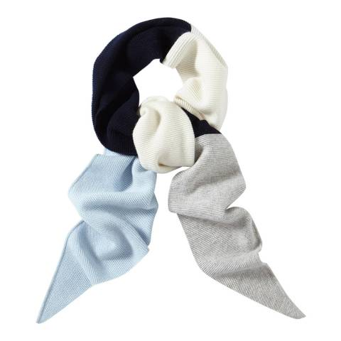 Pure Collection Blue Colour Block Textured Scarf