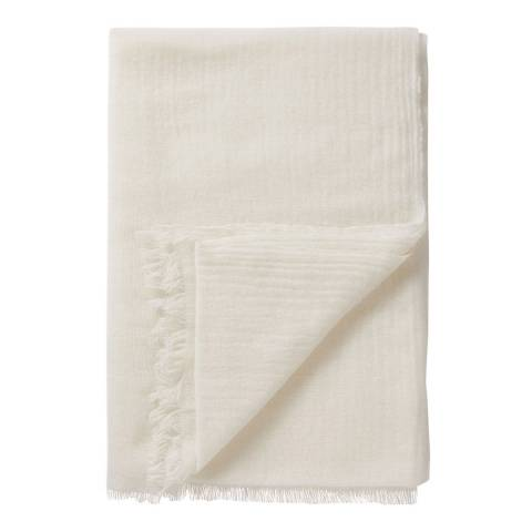 Pure Collection Soft White Woven Cashmere Scarf
