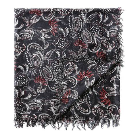 Pure Collection Black Paisley Print Ultra Soft Printed Scarf