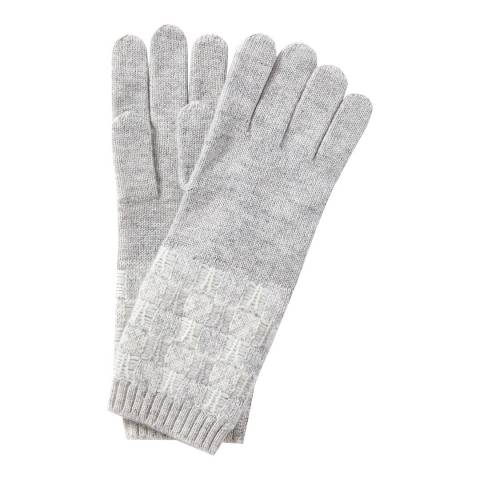 Pure Collection Heather Dove/Soft White Toccato Textured Gloves