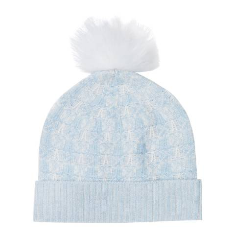 Pure Collection Heather Sky/Soft White Toccato Textured Pom Hat