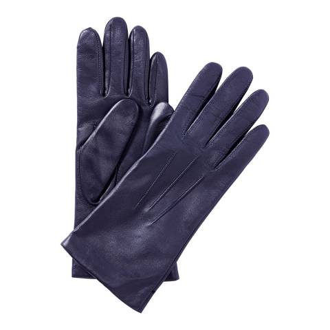 Pure Collection Navy Leather Gloves with Cashmere Lining