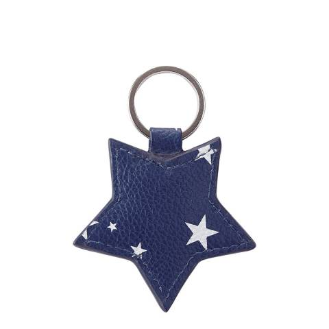 Pure Collection Navy Star Leather Star Keyring