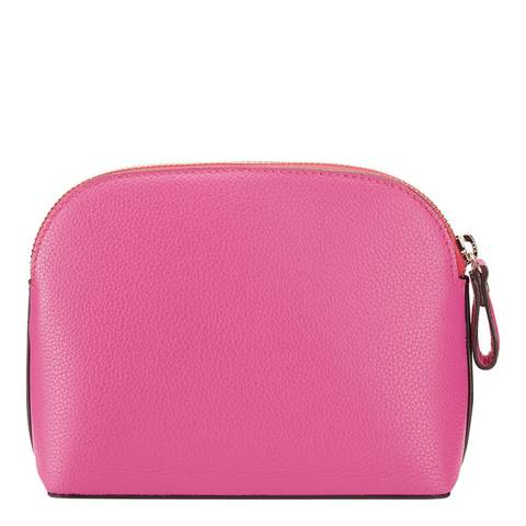 Pure Collection Bright Pink Leather Cosmetic Bag