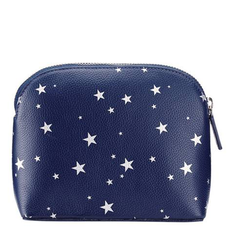 Pure Collection Navy Star Leather Cosmetic Bag