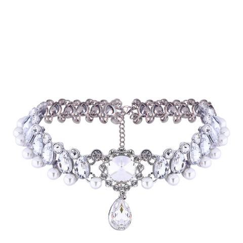 White label by Liv Oliver Crystal Pearl Statement Choker in Silver