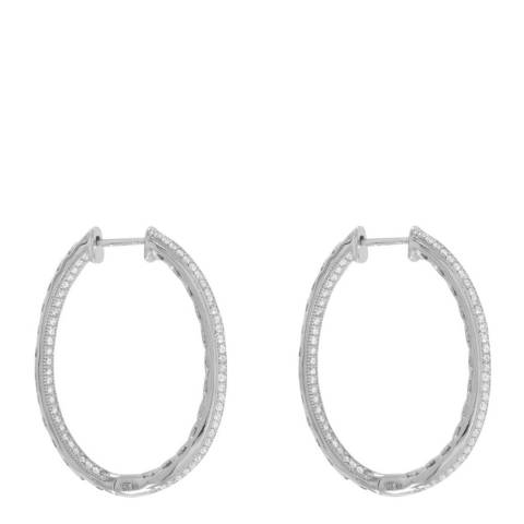Black Label by Liv Oliver Sterling Silver two row CZ Hinged Hoop earrings