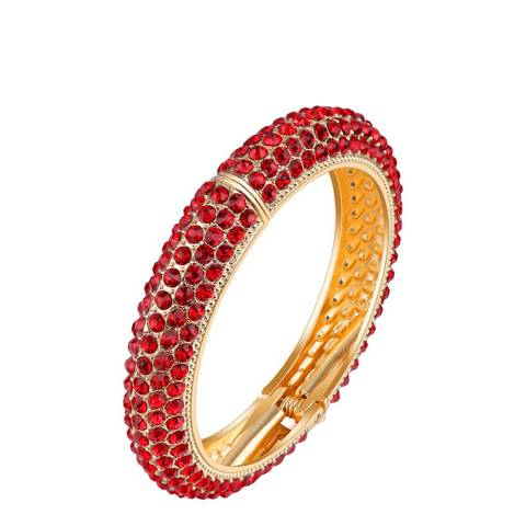 Black Label by Liv Oliver Gold Red Crystal Bangle