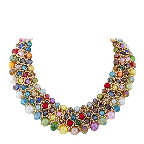White label by Liv Oliver 18k Gold Multi Pearl & Crystal Statement Necklace